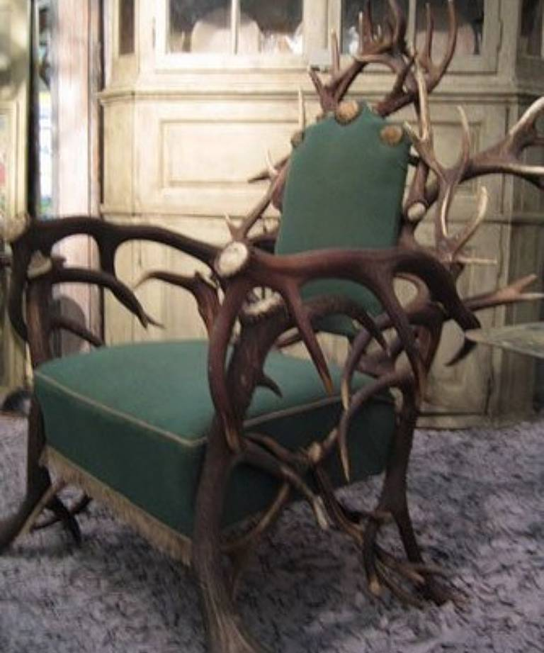 Pair antler armchairs