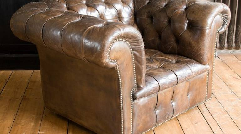 Leather Chesterfield armchairs