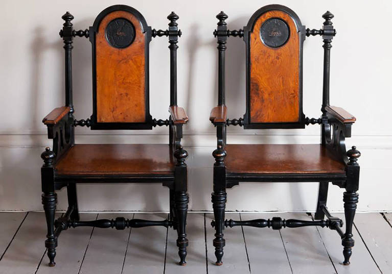 Pair of English Hall Chairs, circa 1860