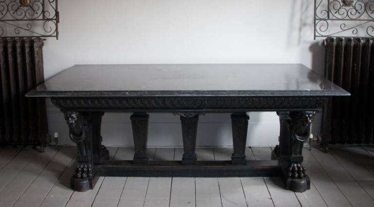 Black marble topped table