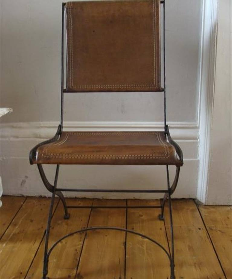 Set of 6 leather folding chairs