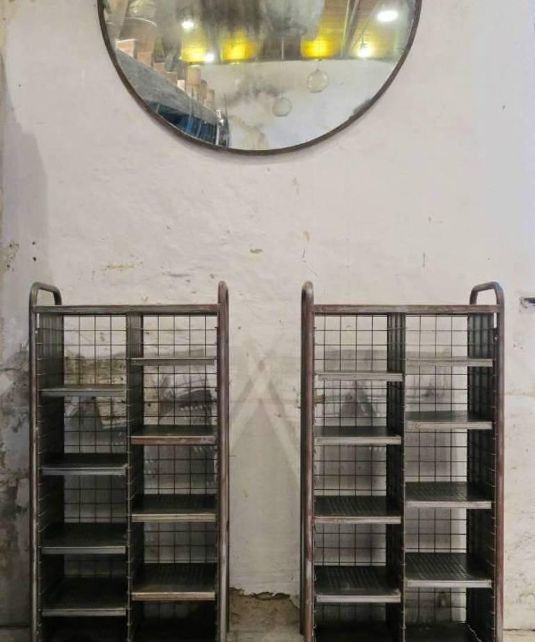 Pair industrial postal shelves