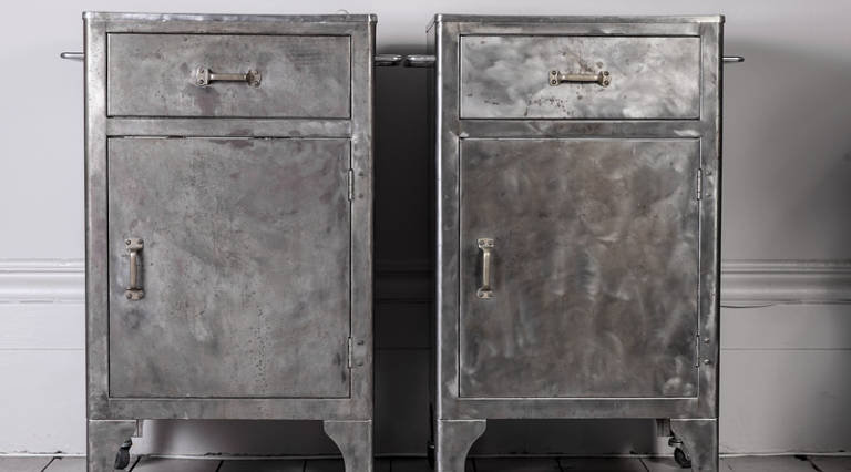 Pair of industrial cabinets