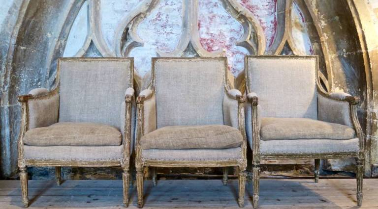 3 French armchairs