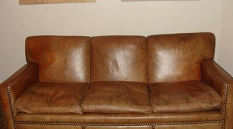 1930`s heals leather sofa