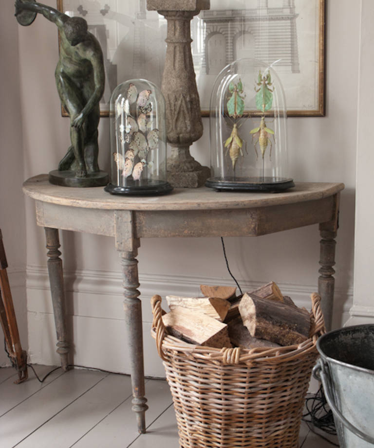 Pair of grey painted console tables
