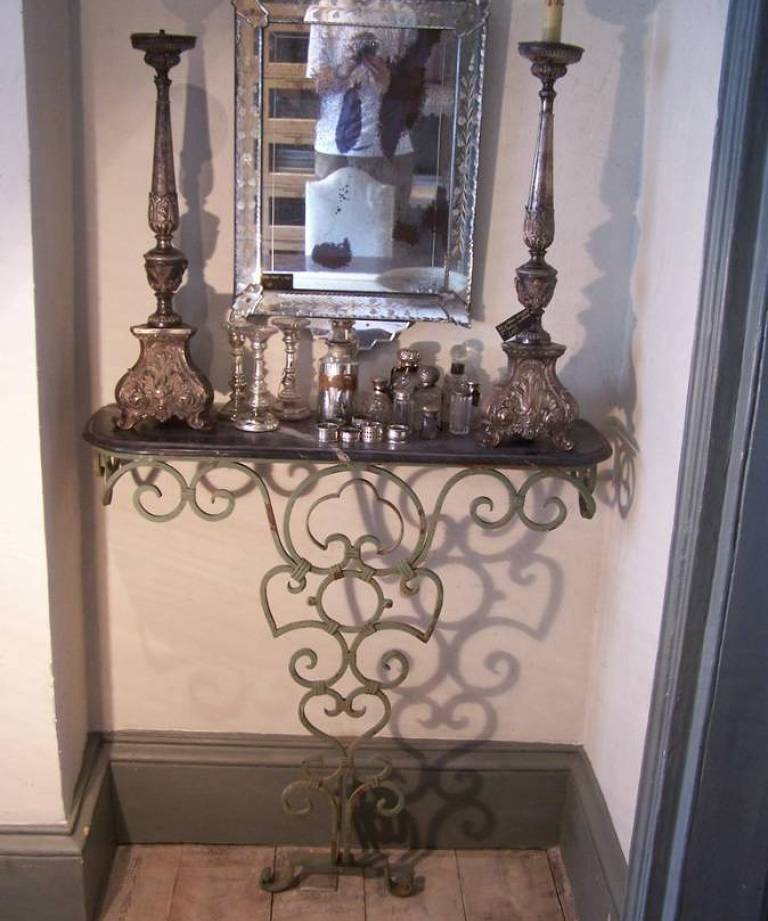 Pair wrought iron consoles