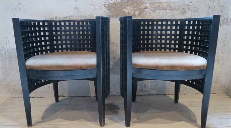 Pair slatted chairs c.1920
