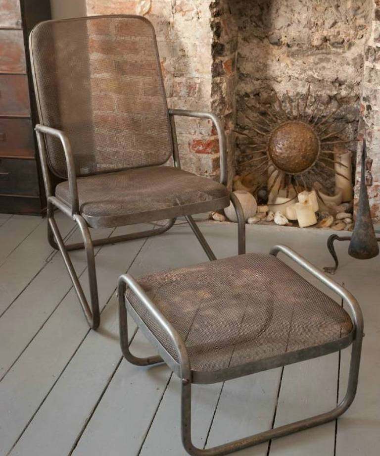 Metal mesh chair and footstool.