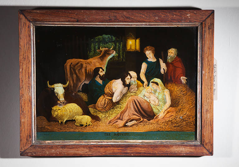 Nativity scene on glass