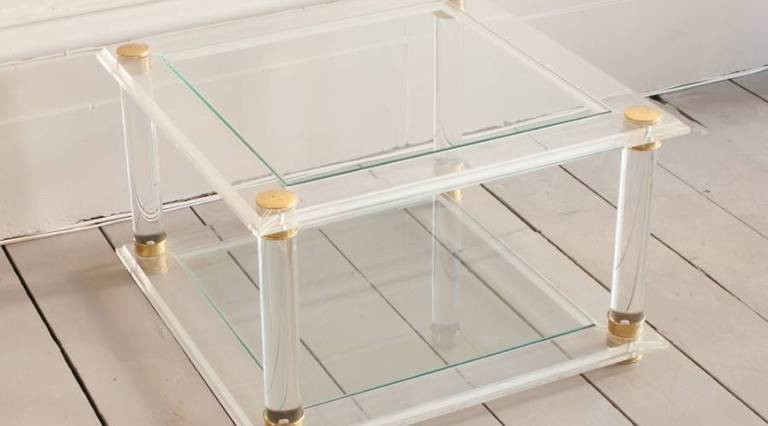 Square perspex coffee table