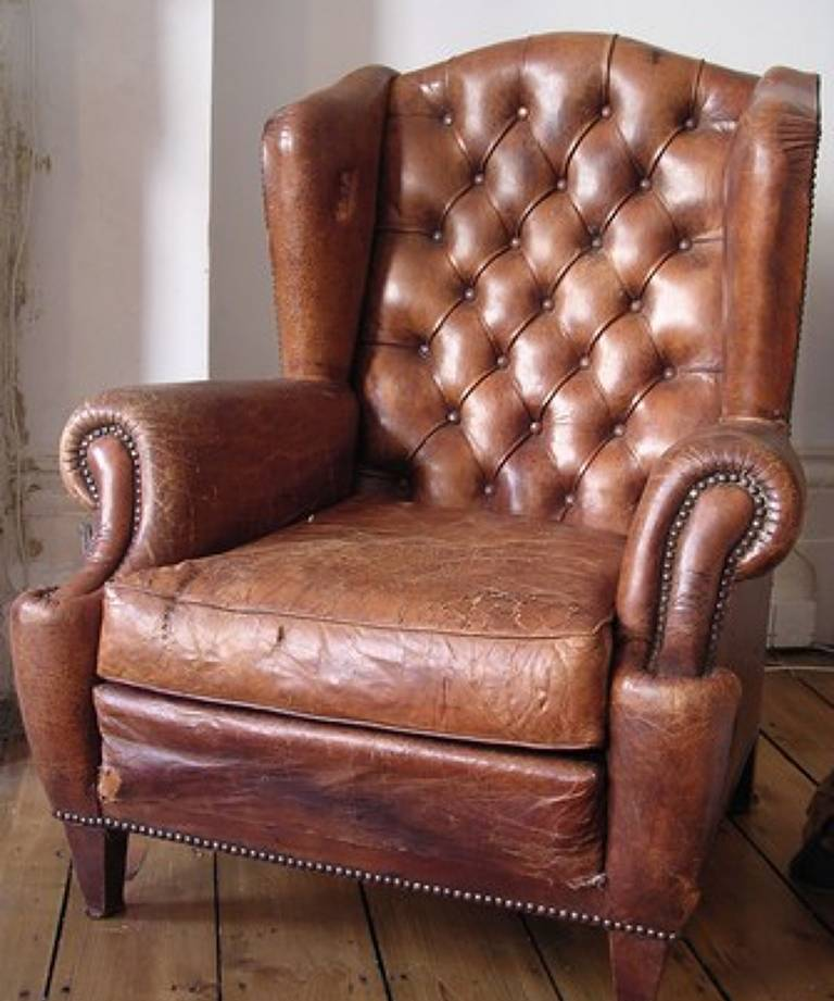 Pair leather armchairs