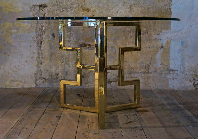 Brass glass table, Italy, circa 1970