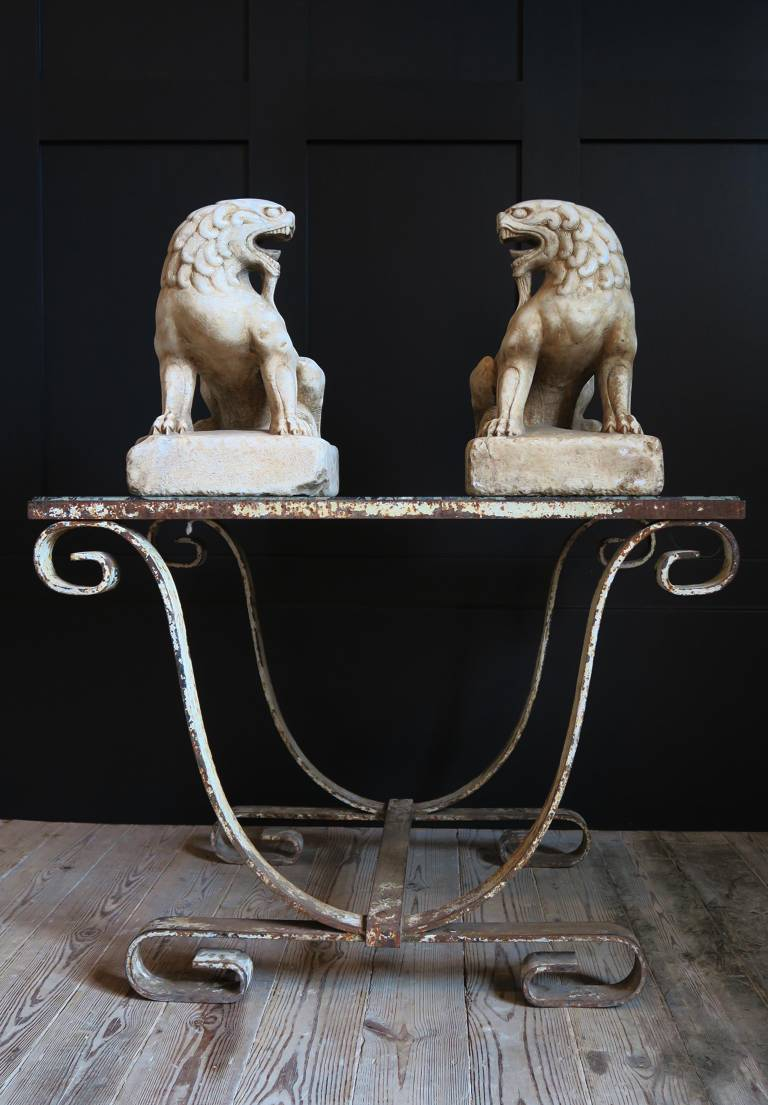 PAIR OF 19TH Century MARBLE LIONS