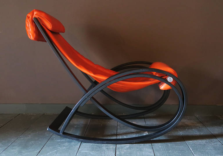 Leather Rocking Chair, Italy, circa 1960