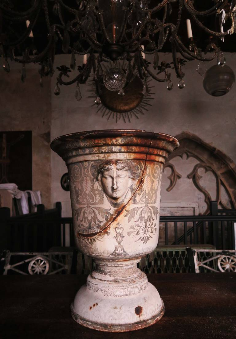 19th century Rouen Enamelled Urn
