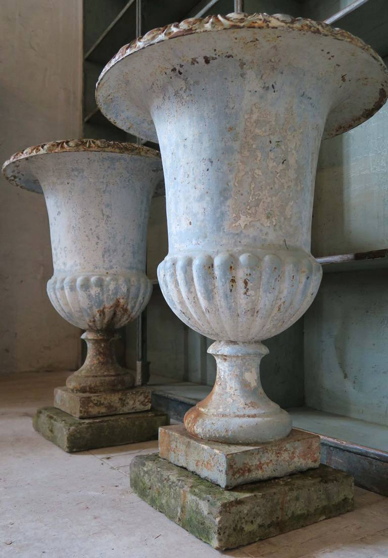 Pair 19th Century Iron Urns