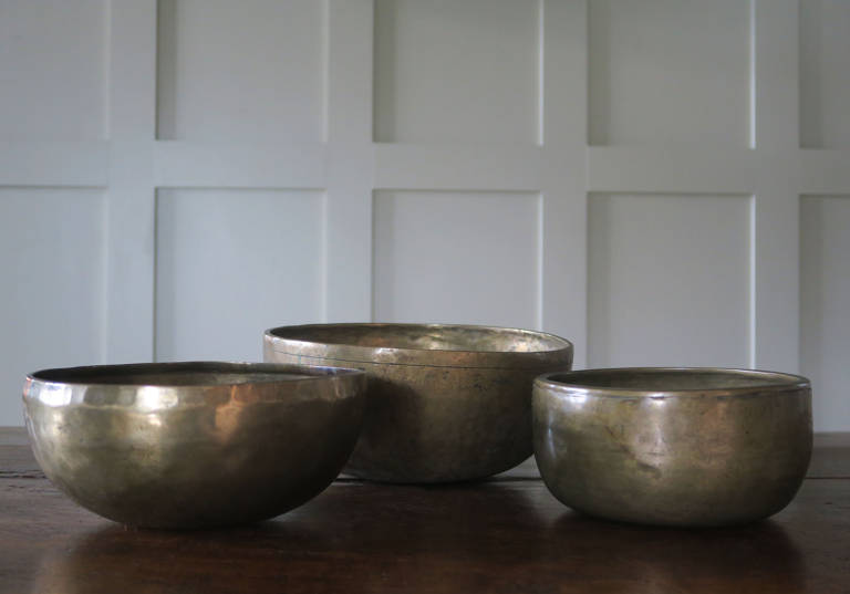 Three Tibetan singing bowls