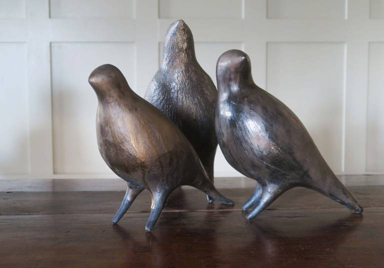 Metallic glazed birds by Julie Nelson