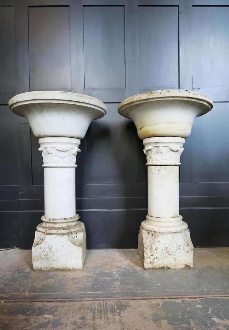 19th Century Italian Marble Fonts