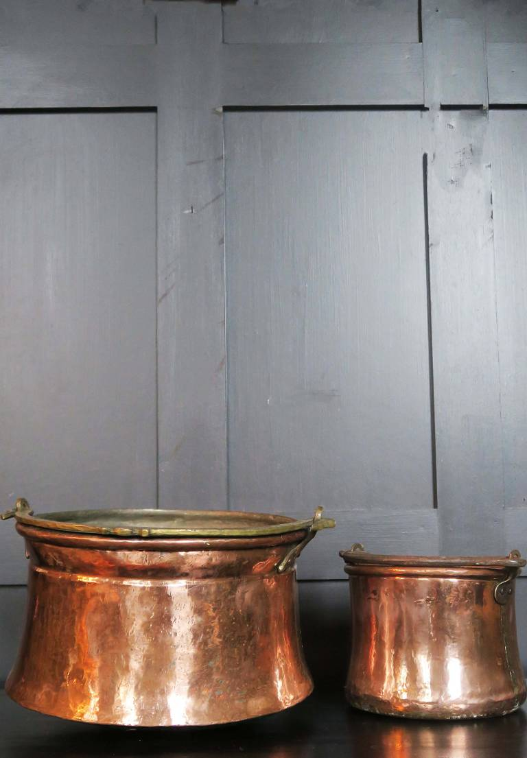 Two copper cauldrons