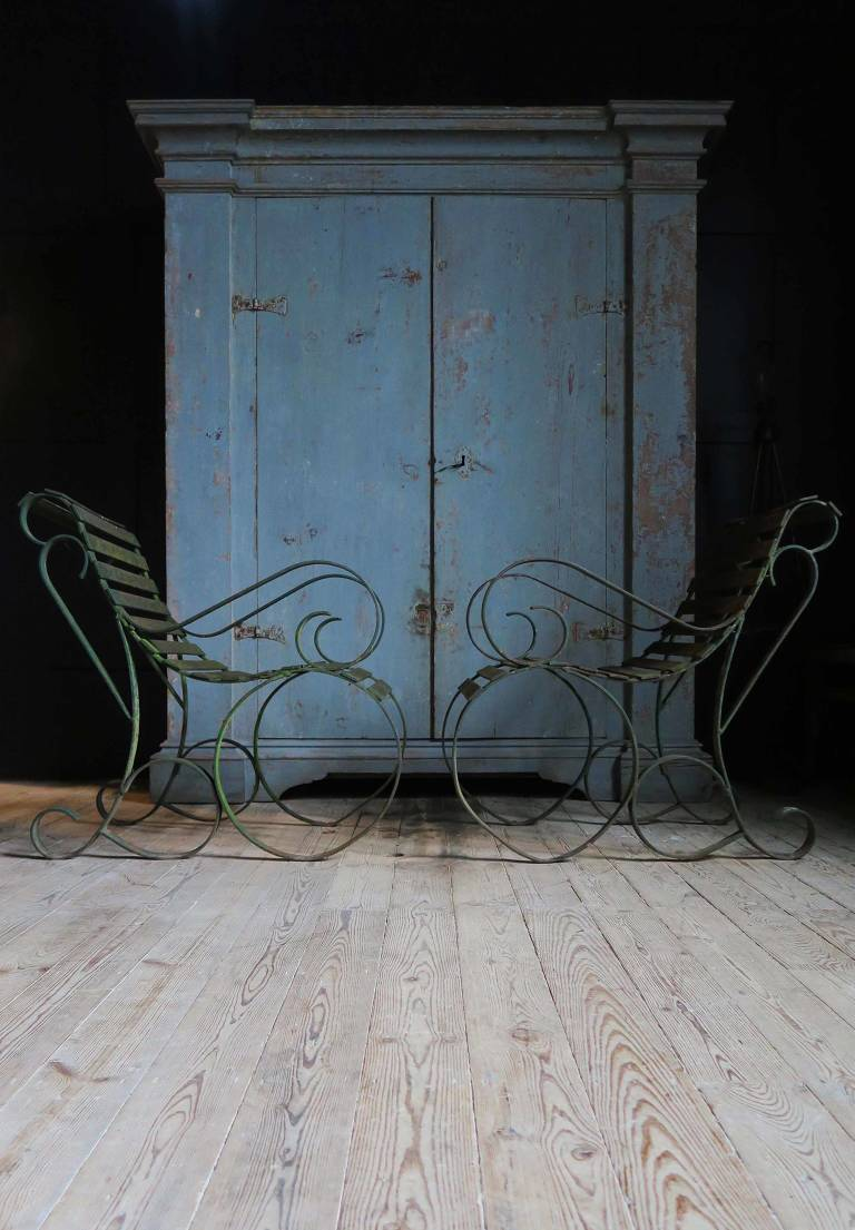 Pair of Iron Garden Chairs, C19th, France