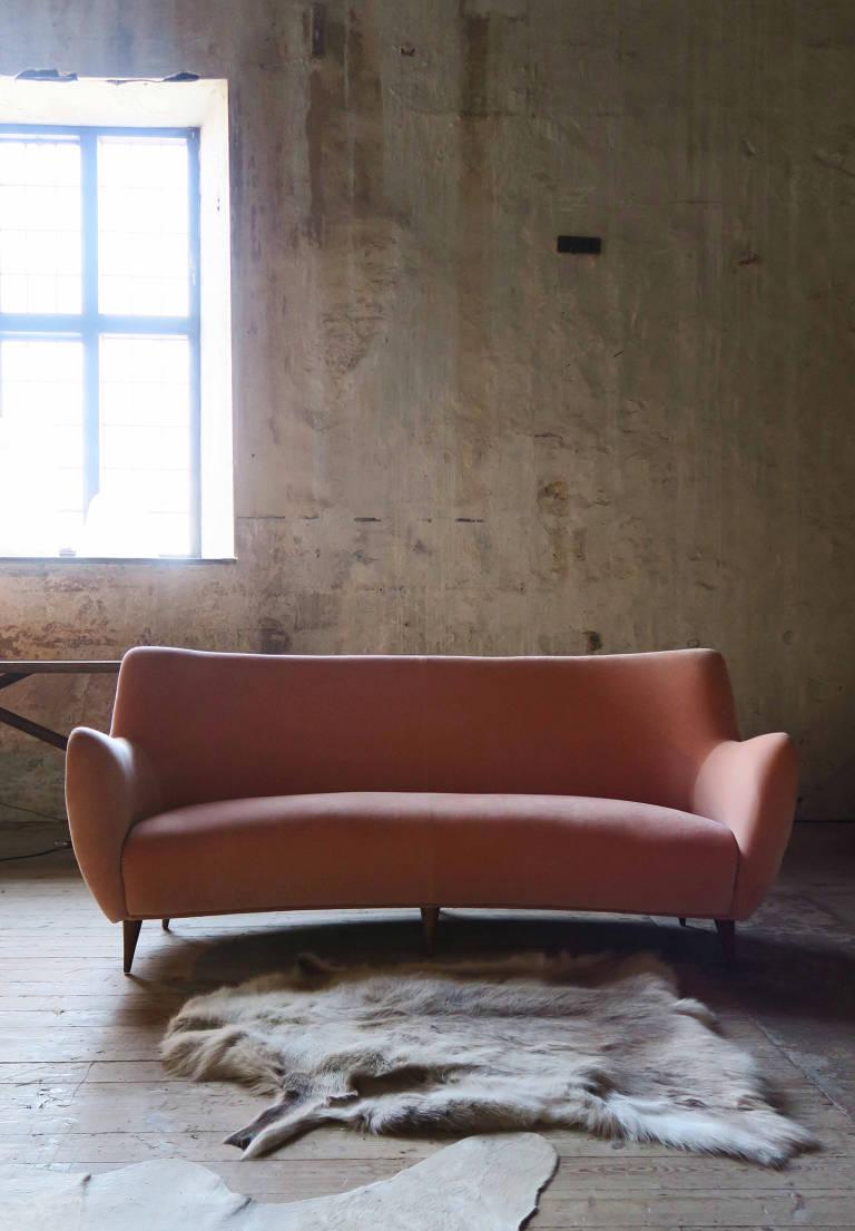 Pink Velvet Sofa, 1960, Italy