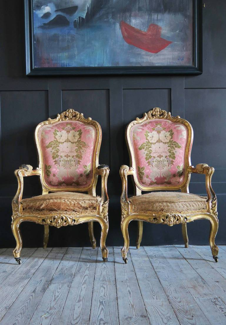 6 Gilt wood chairs, circa 1870, Italy