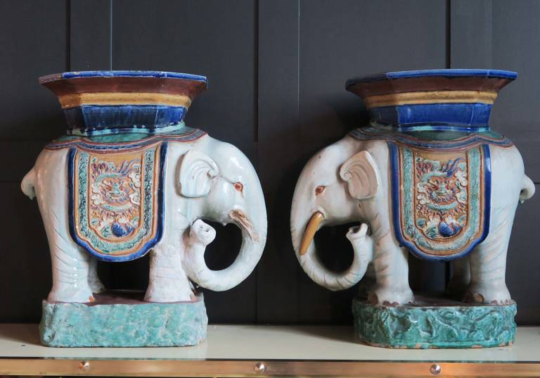 Pair of terracotta Elephant Stools, 19th Cent
