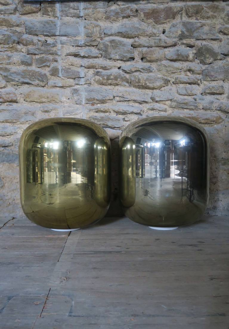 Pair of Glass Cylinder Lights, 21st C, Italy