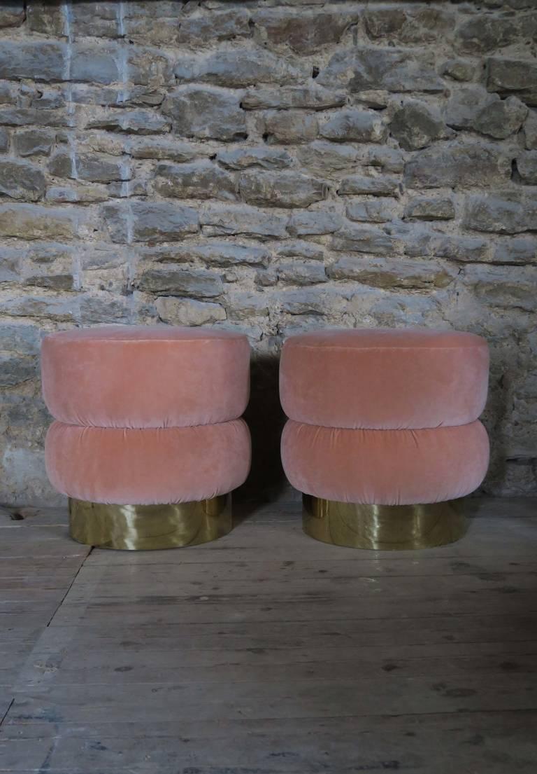 Pink Velvet Stools, Italy