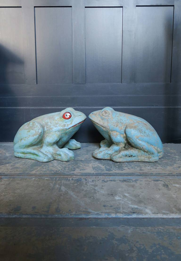 Pair composite stone Frogs, circa 1950, Italy