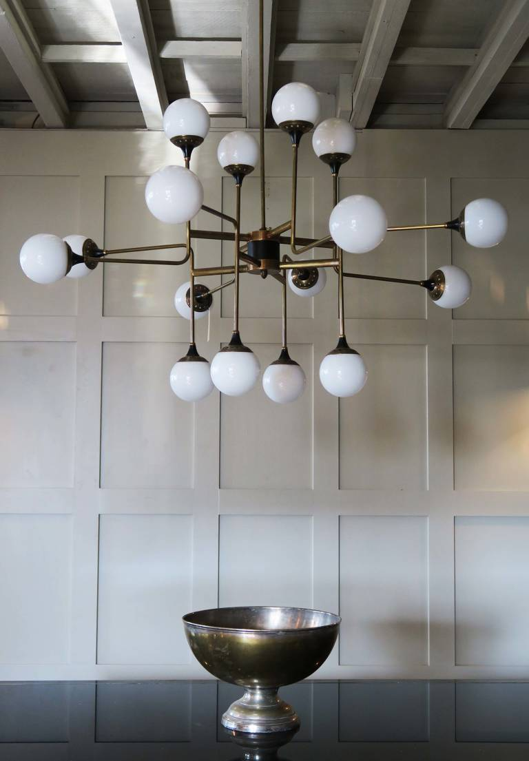 Brass and Glass Chandelier, circa 1960, Italy