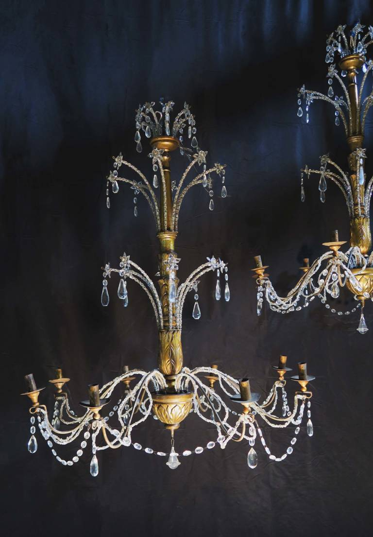 Pair of chandeliers, circa 1880, Italy