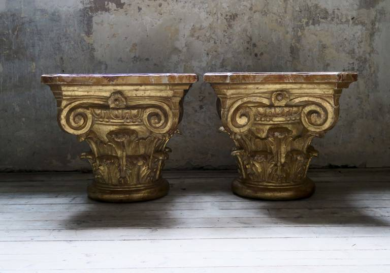 Pair of Gilt Capitals, c1850, Italy