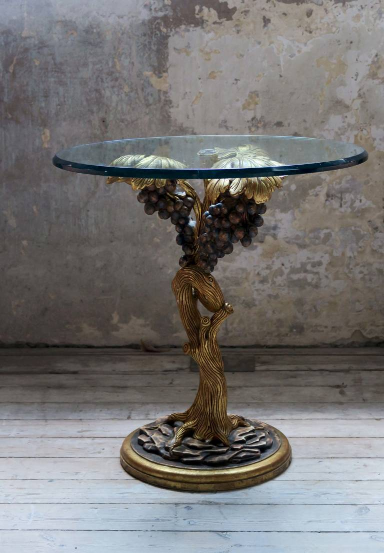 Side table with carved wood base, 1950, Italy