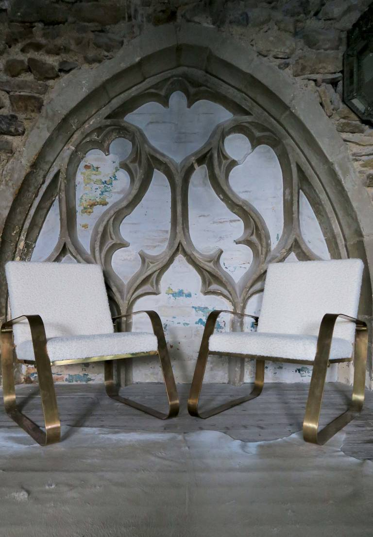 Pair of brass & bouclé chairs, Italy