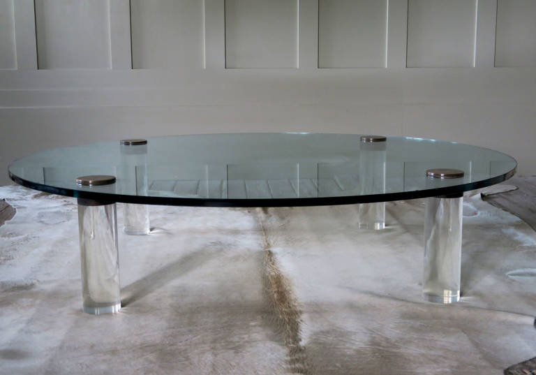 Circular table with lucite legs, 1970, Italy
