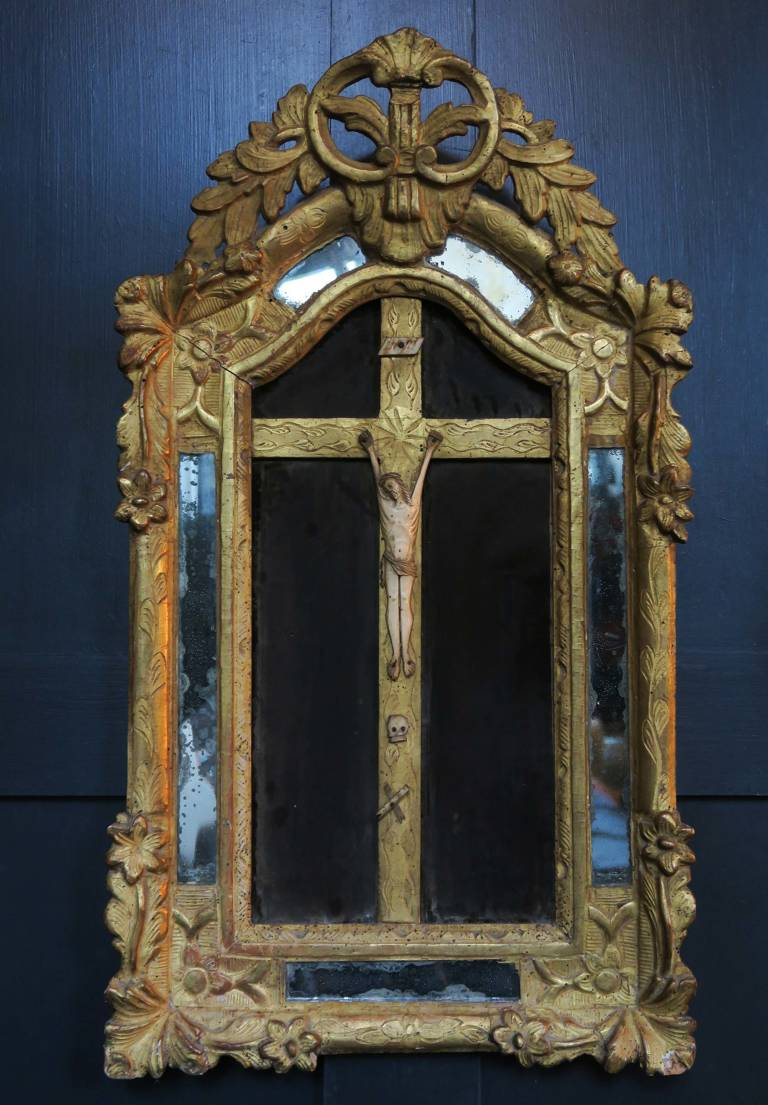 Ivory Figure of Christ in gilt frame, 18thC