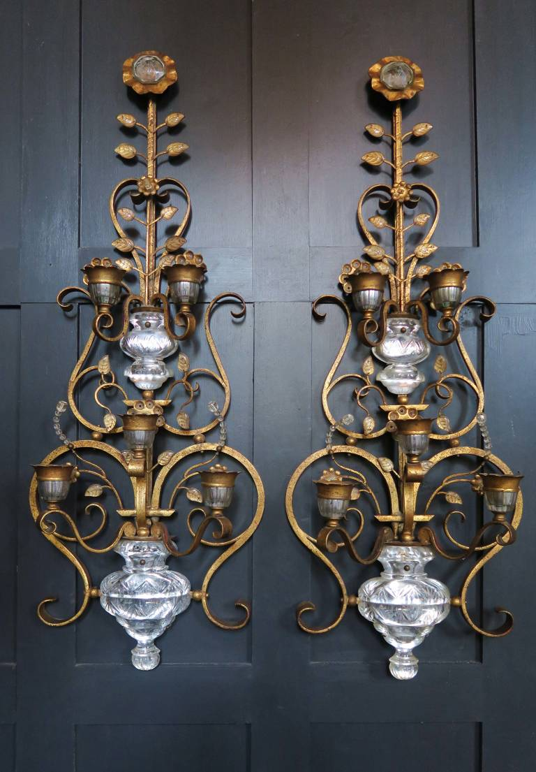 Pair of decorative wall sconces, 1950s, Italy